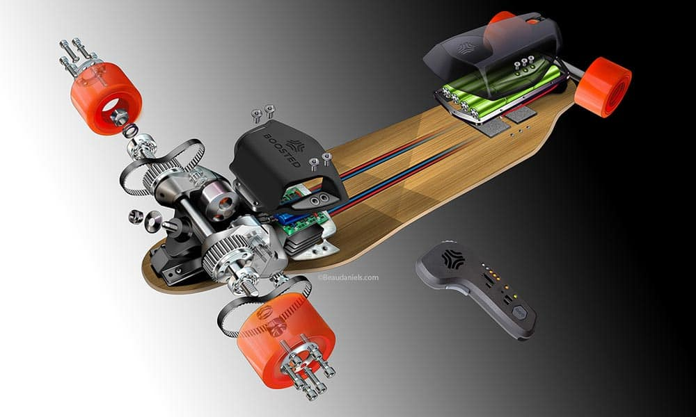 Illustration of the anatomy of an electric skateboard