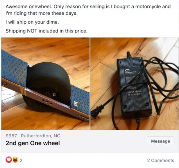 buying a used onewheel on facebook marketplace