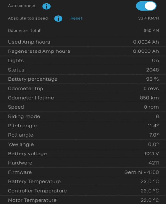 used onewheel info app screenhot