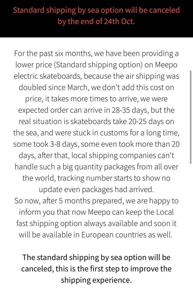 Meepo Shipping Time Announcement