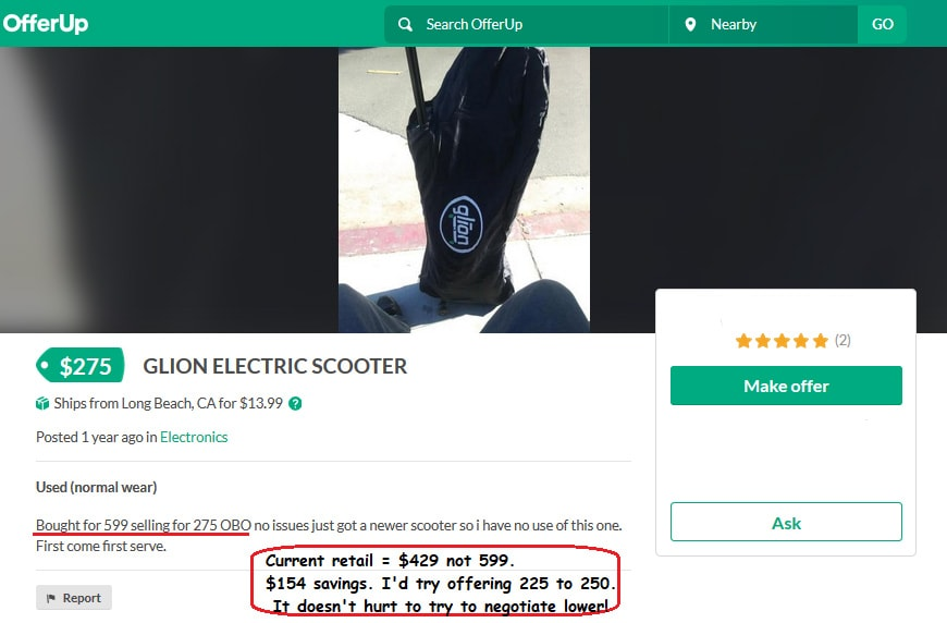 buying a used electric scooter on offer up