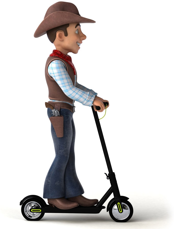 cowboy on electric scooter