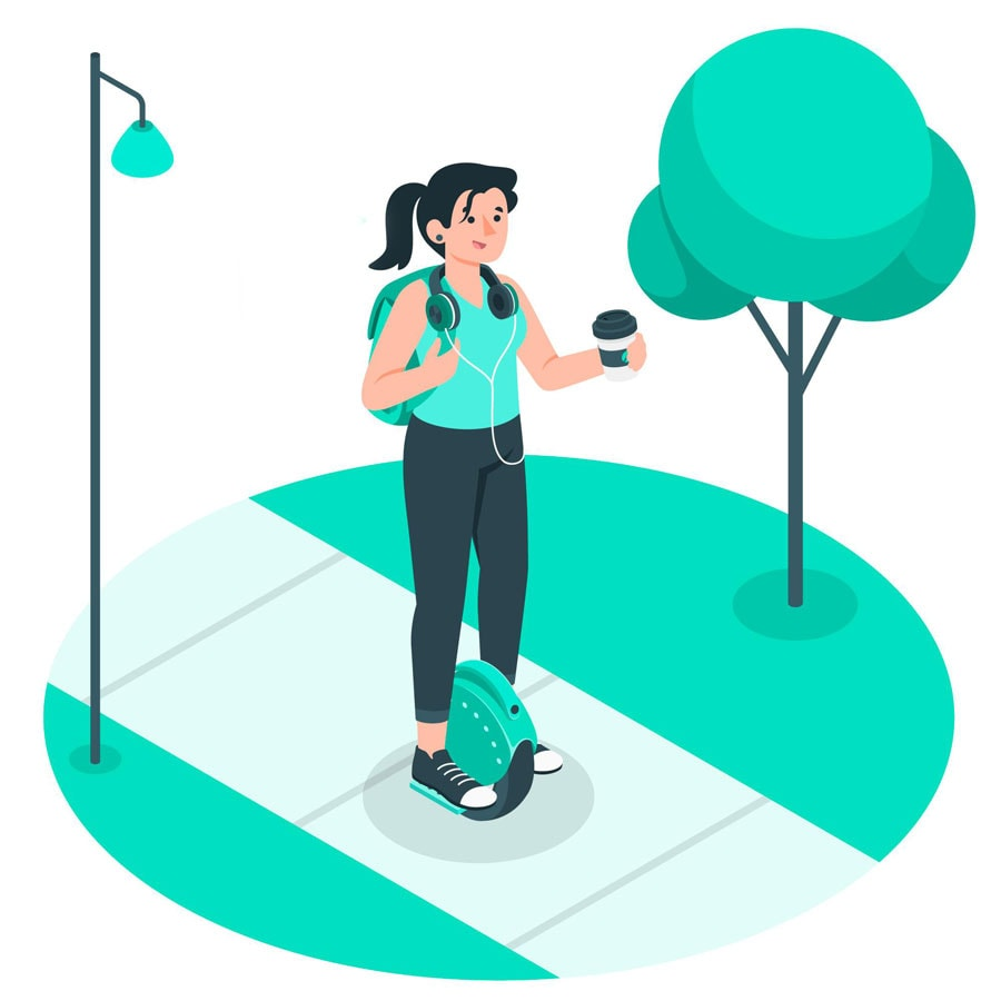 illustration of electric unicycle rider