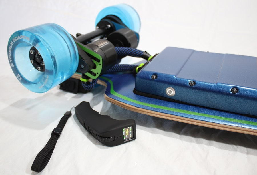 electric skateboard DIY drive train of finished board with remote