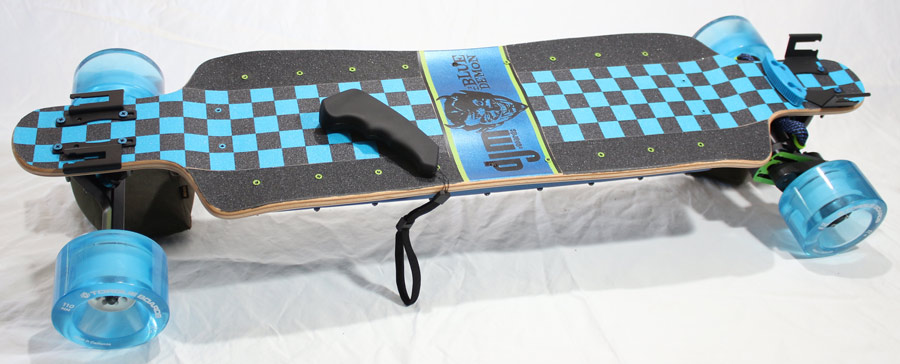 electric skateboard DIY finished board top view with remote